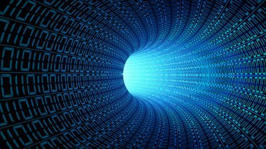 Binary code numbers in blue abstract speed motion in highway tunnel for technology background, digial data in computer. fast moving toward the light. 3d illustration