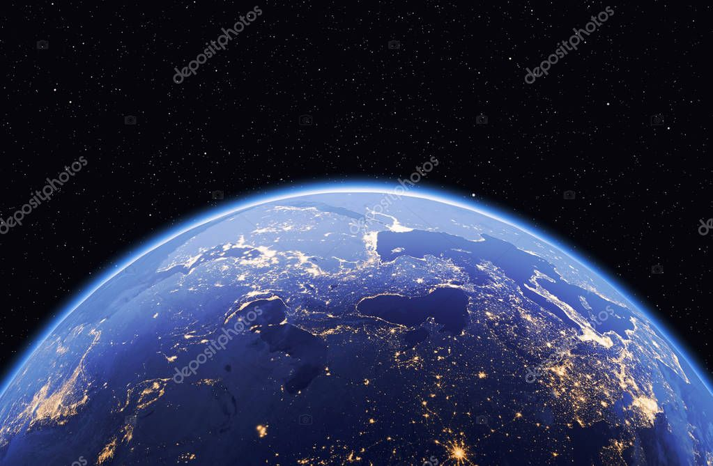 Planet earth with stars, global model isolated on black background. Elements of this image furnished by NASA