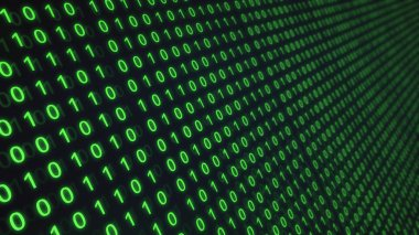 01 or binary number data on the computer screen isolated on green background, 3d illustration