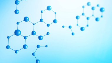 Blue molecules or atom on blue background. Abstract structure in