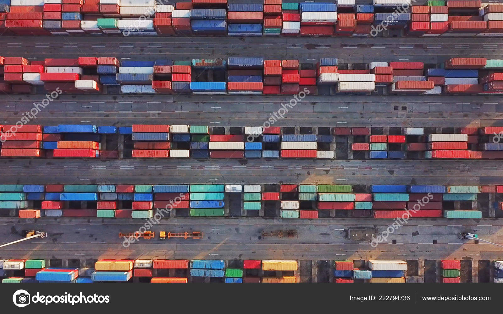 Aerial Top View Container Cargo Ship Export Import Business