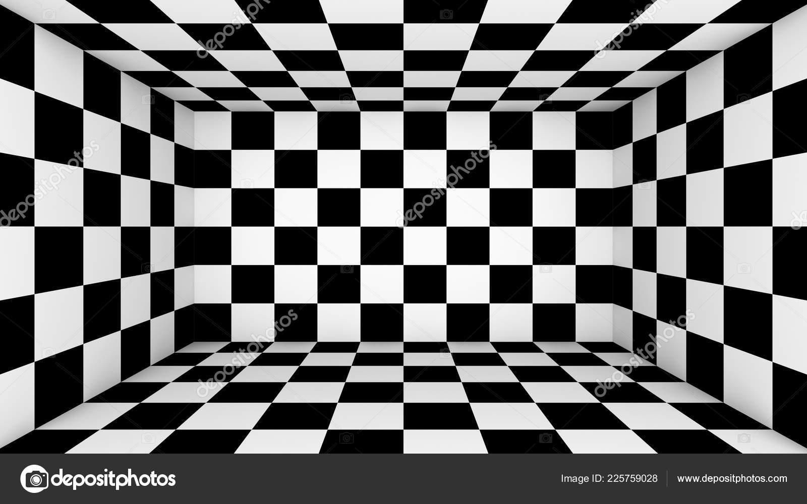 Empty Black And White Wallpaper Checkered Empty Room Abstract