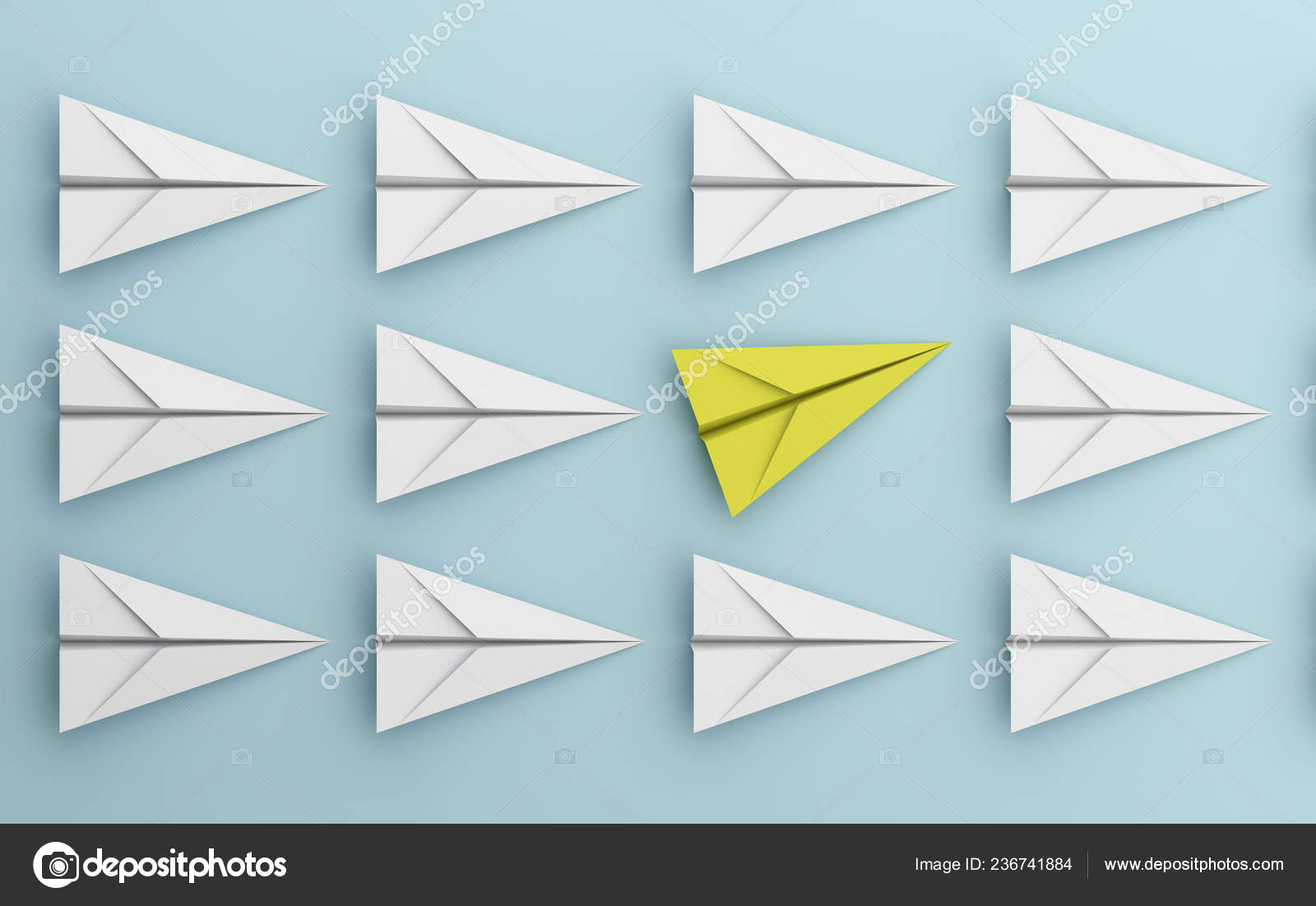 Leadership Different Concept Yellow White Paper Airplane