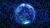 Fényképek A világ. Föld bolygó digitális számítógépes hálózati csatlakozó vezetékek és bináris kód internet technológia koncepció a globális üzleti, 3d absztrakt illusztráció