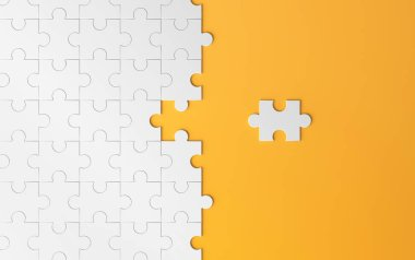 Jigsaw puzzle, pattern texture with space in strategy and solution of team business success partnership concept on orange background. 3d abstract illustration