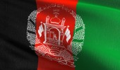 Fotografie Afghanistan national flag blowing in the wind isolated. Official