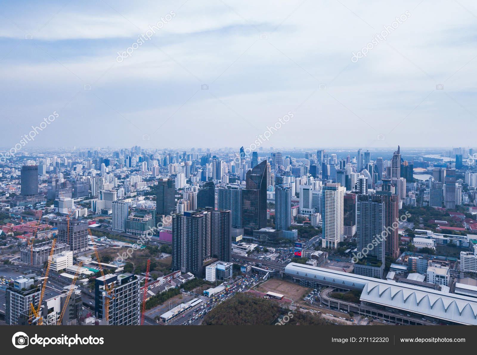 Aerial view of Rama 9 road, New CBD, Bangkok Downtown