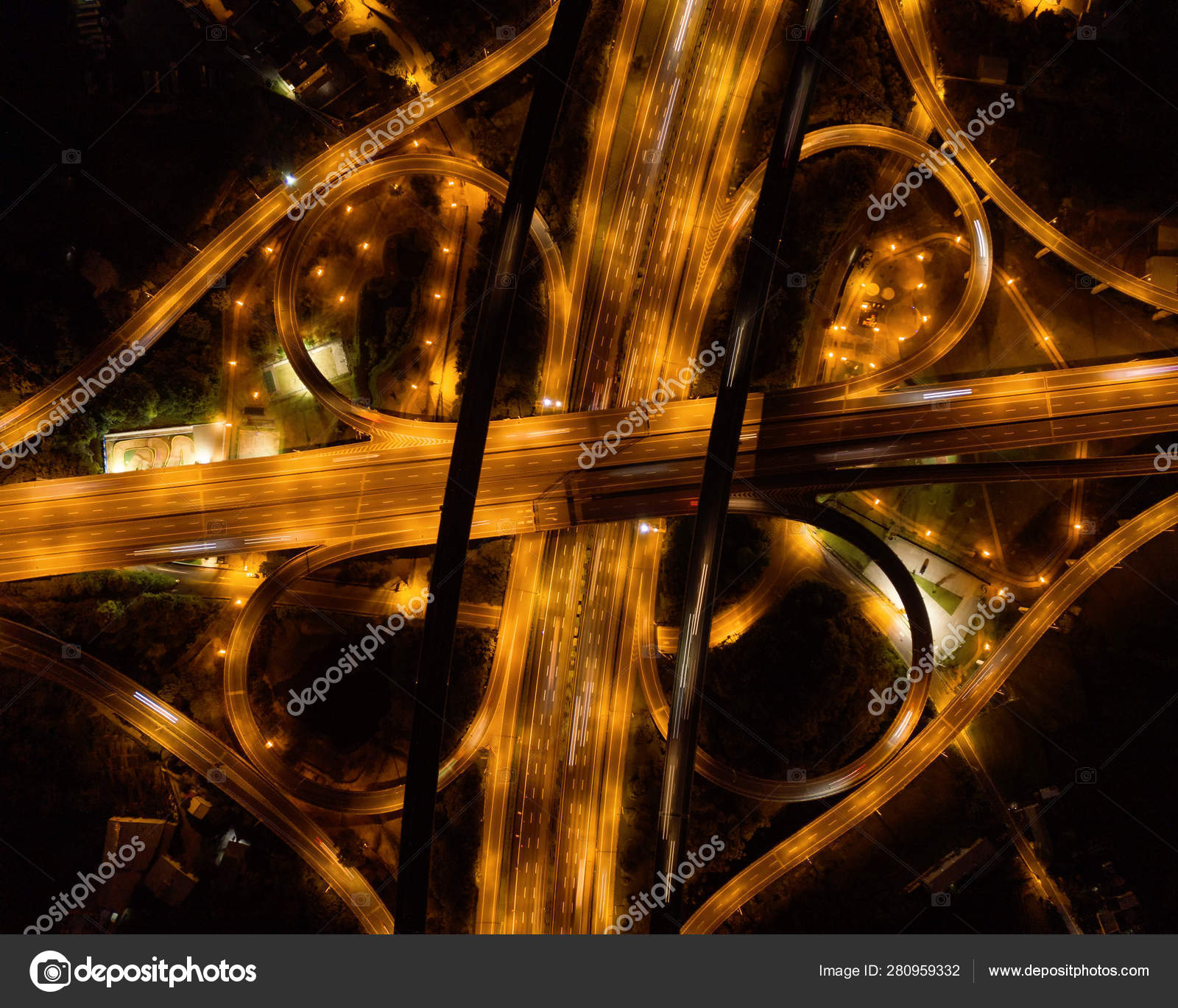 Aerial View Of Cars Driving On Highway Junctions Bridge