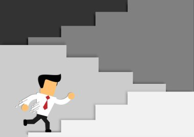 cartoon businessman startup and success with vector design