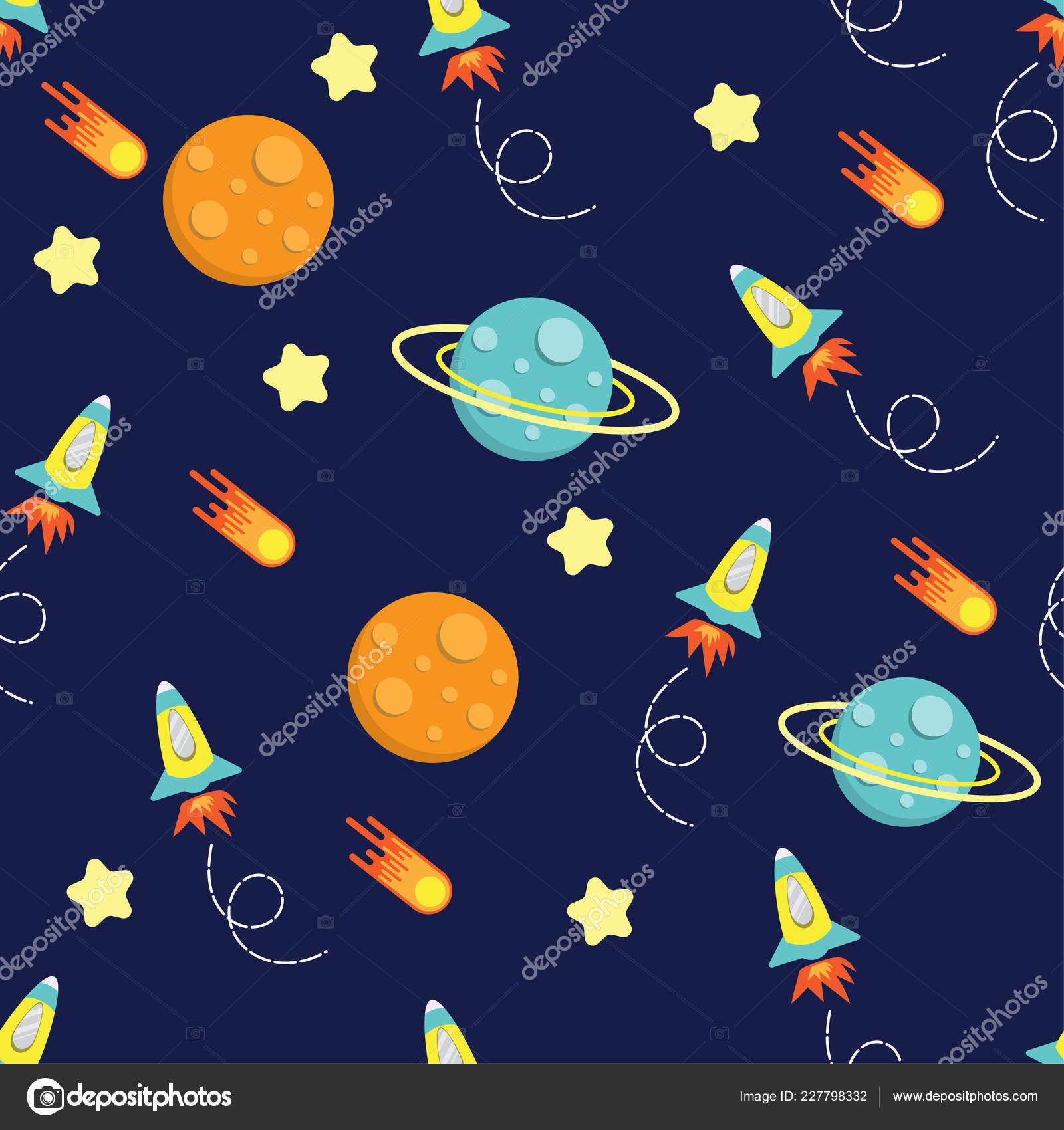 Cartoon Kid Rocket Galaxy Pattern Seamless Vector Design Stock