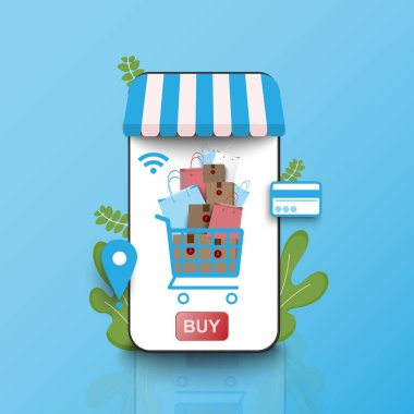 shopping online on smart phone laptop at stay home with fas