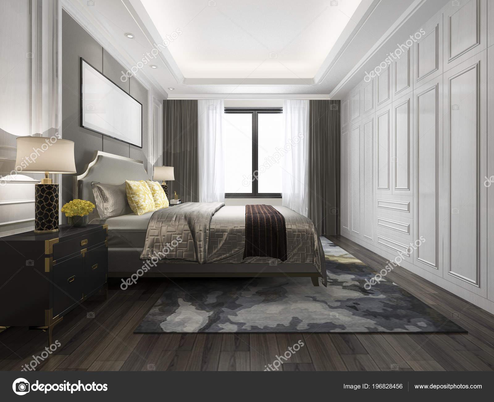 Rendering Luxus Bett Weiße Klassische Schlafzimmer — Stockfoto ...