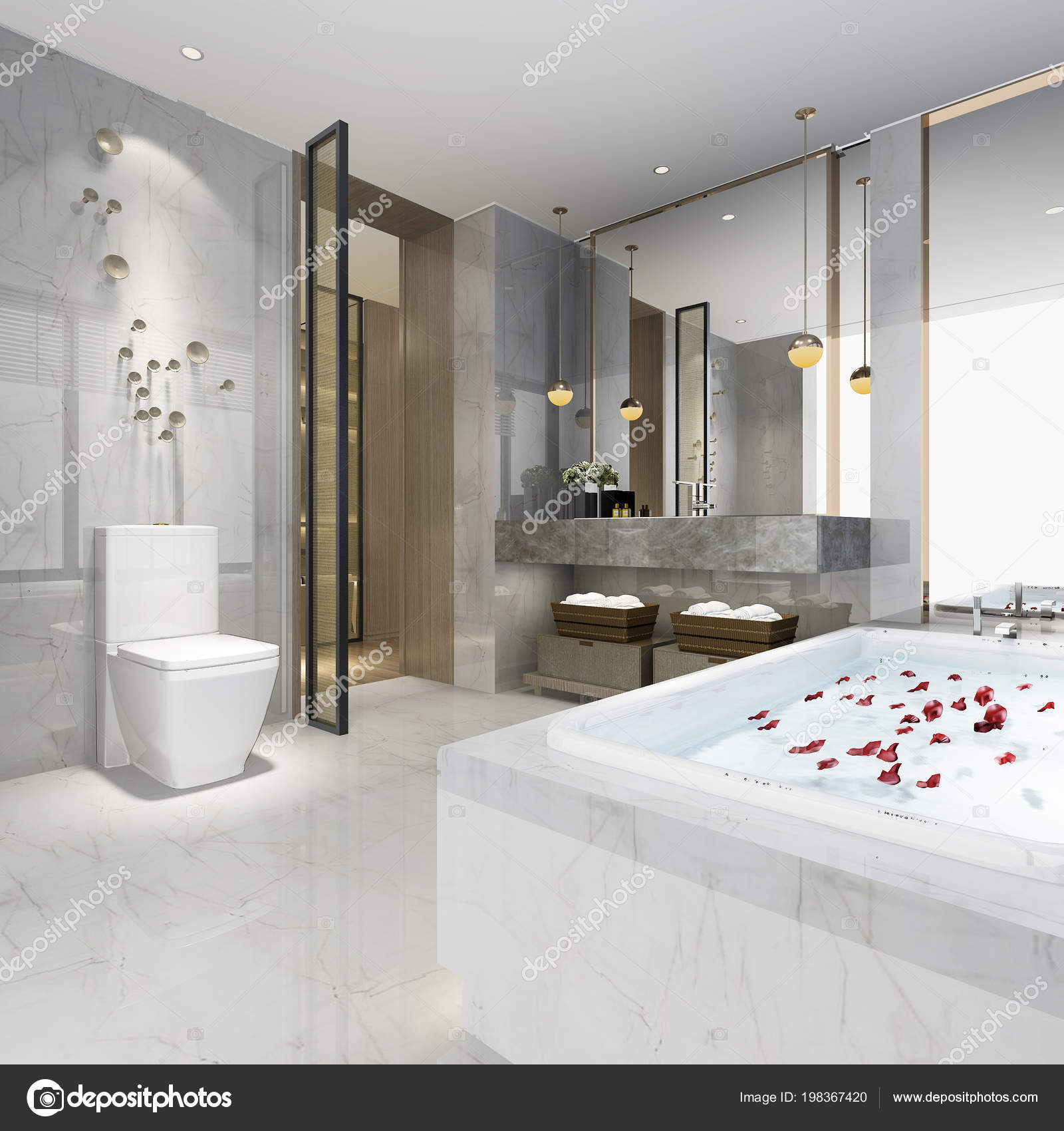 Luxe Rendu Moderne Design Salle Bain — Photographie dit26978 ...