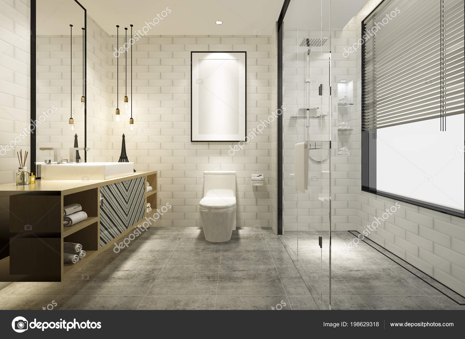 Render Moderno Cuarto Baño Con Lujo Del Azulejo Decoración — Foto de ...