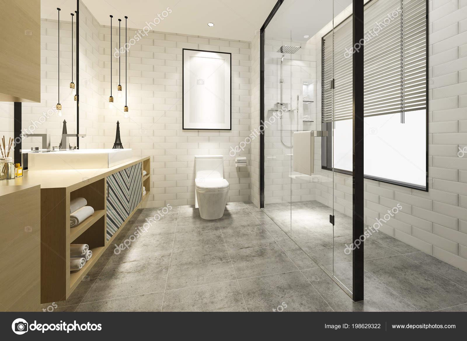 Rendering moderne badkamer met luxe tegel decor u stockfoto