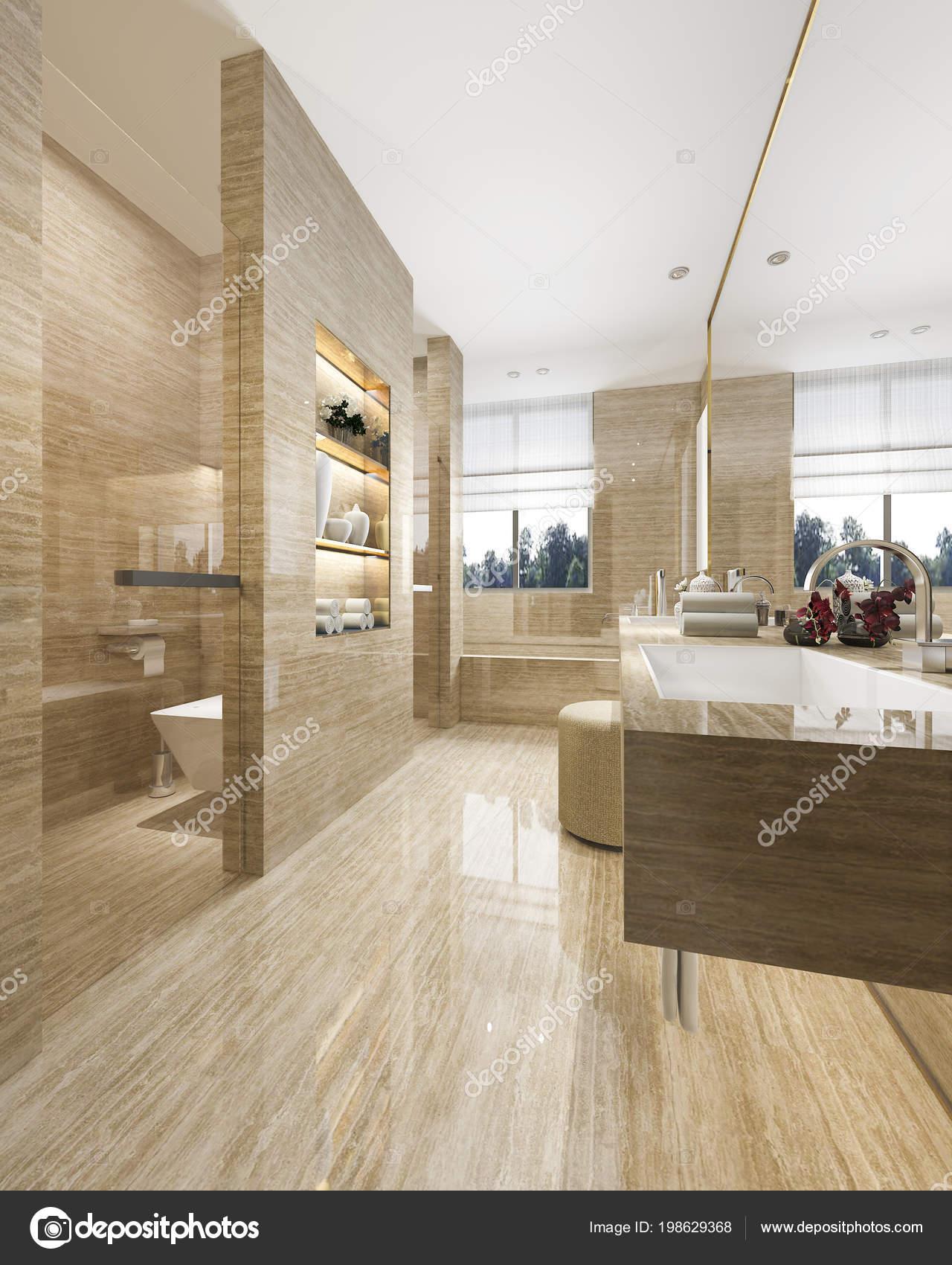 Salle Bains Moderne Rendu Avec Luxe Carrelage Décoration ...