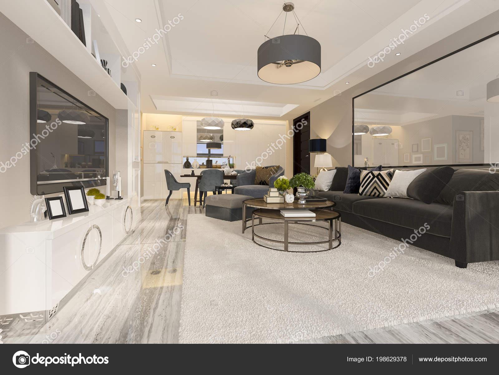 Rendering van luxe moderne woonkamer eetkamer u stockfoto
