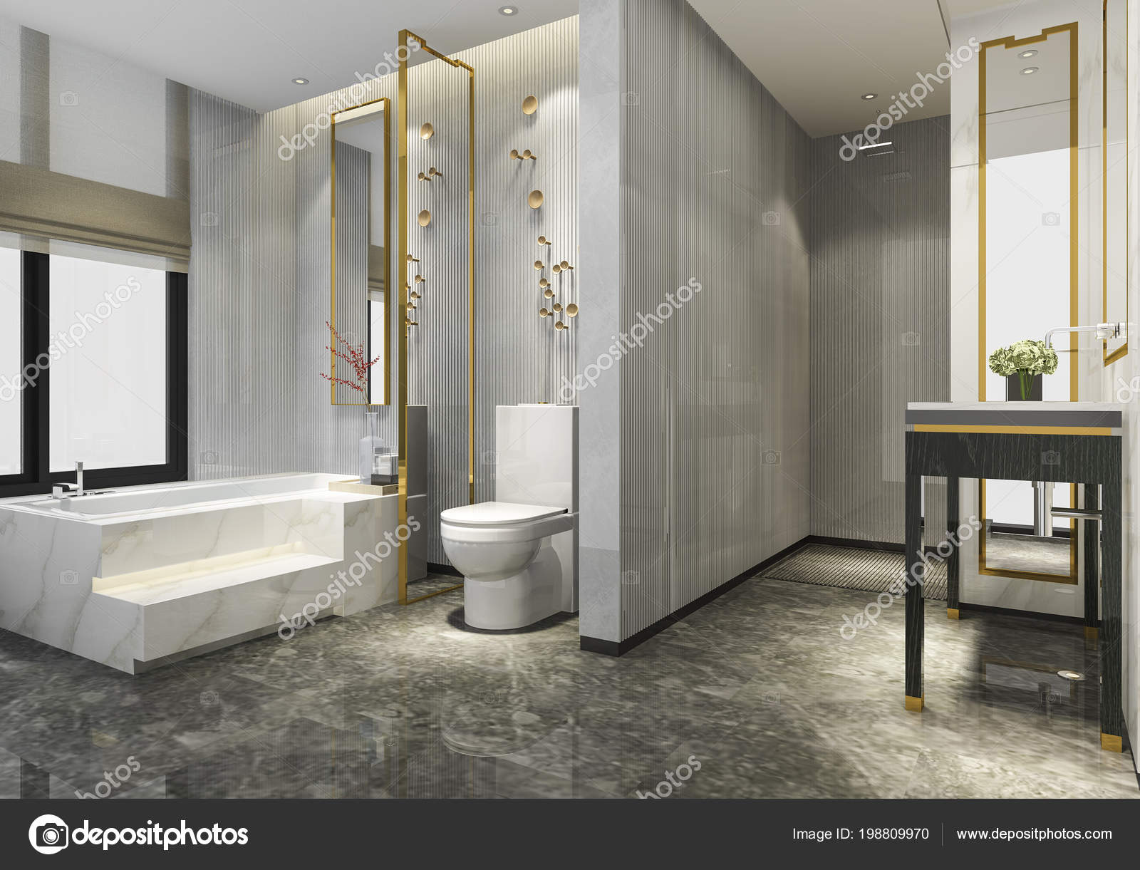 Rendering Luxus Modernes Design Badezimmer Und — Stockfoto ...