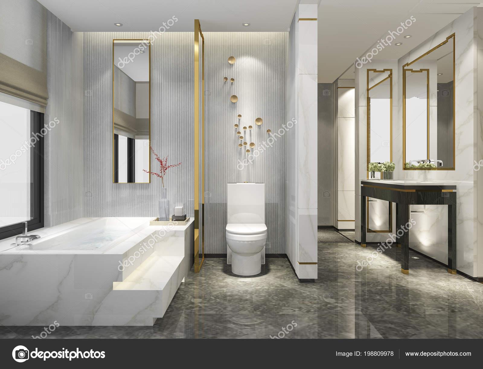 Rendering luxus modernes design badezimmer und u stockfoto