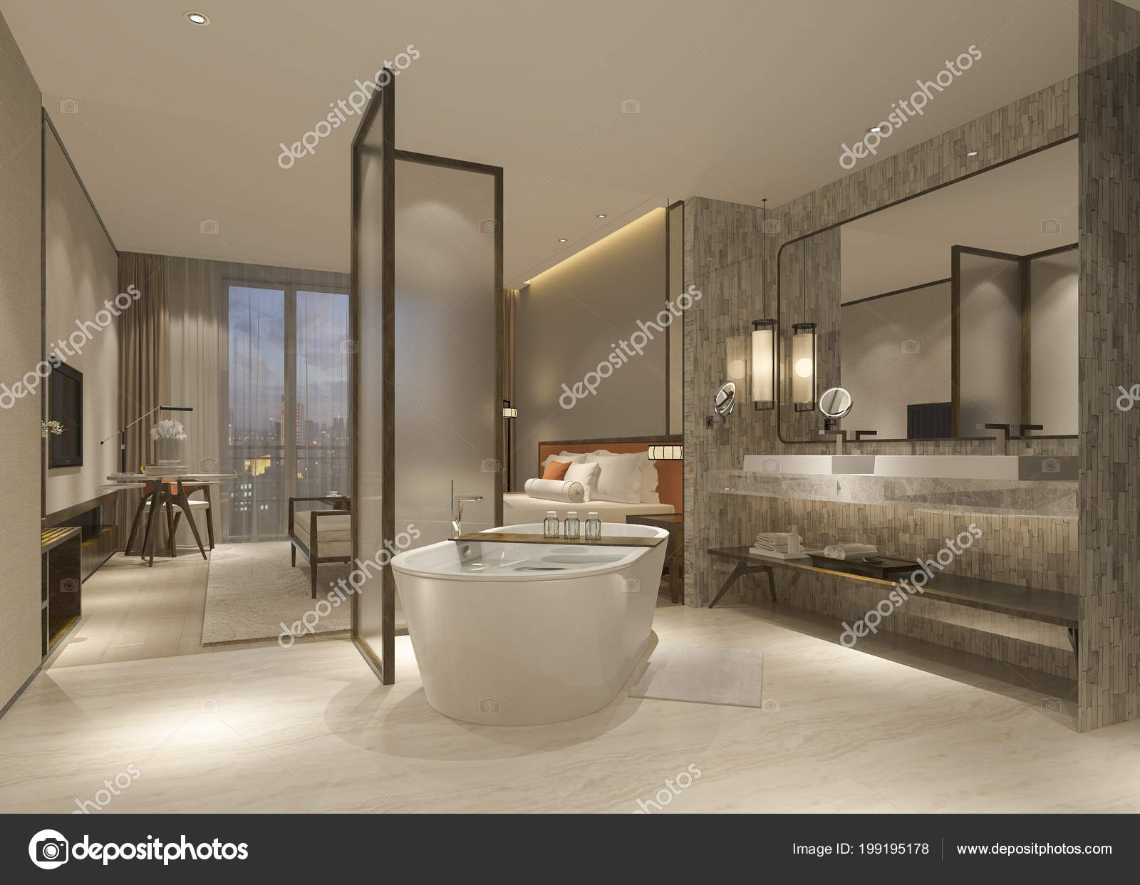 Salle Bain Suite Chambre Coucher Luxe Moderne Rendu ...