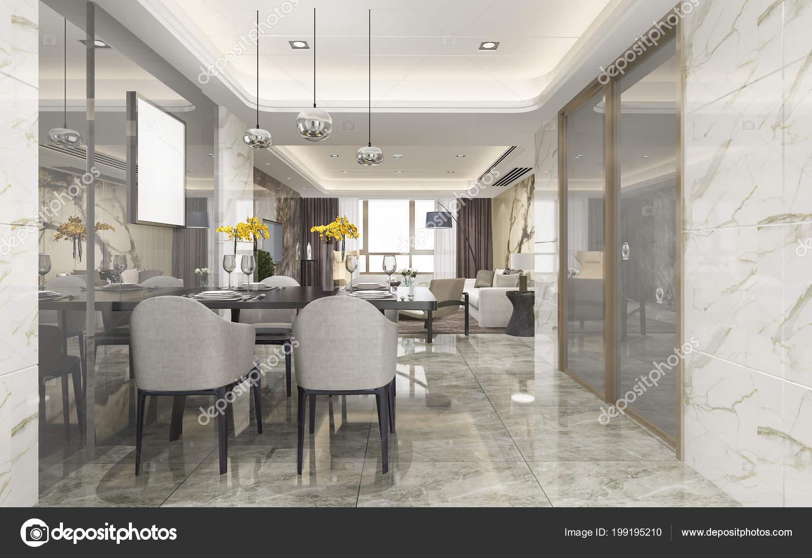 Rendering Moderna Sala Pranzo Soggiorno Con Arredamento Lusso — Foto ...