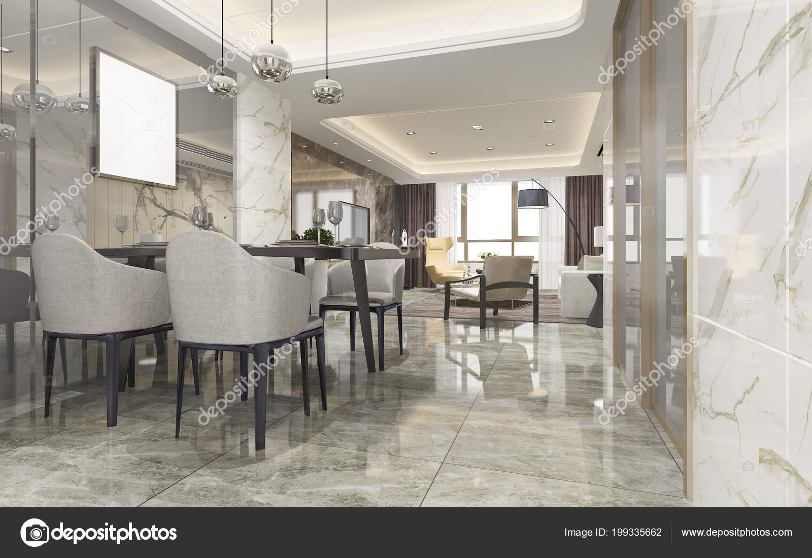 Moderne Inrichting Woonkamer : Rendering moderne eetkamer woonkamer met luxe inrichting u2014 stockfoto