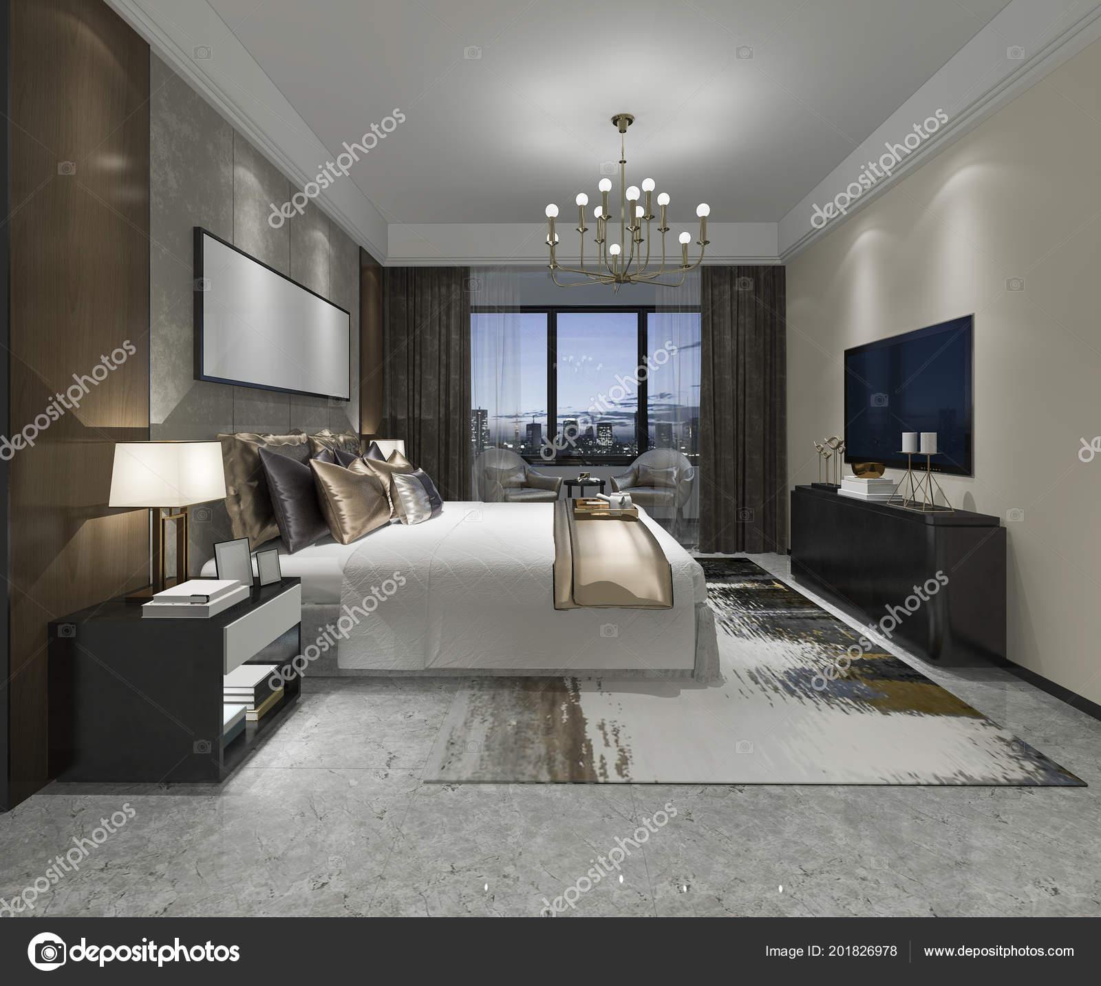 Suite Chambre Coucher Moderne Luxe Rendu Dans Hôtel — Photographie ...