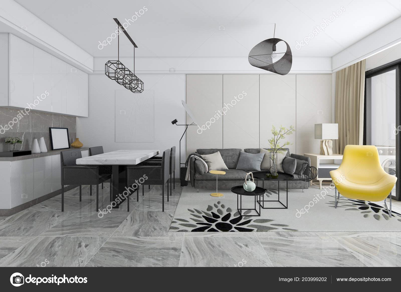 Rendering Moderne Fliesen Wohnzimmer Und Esszimmer ...