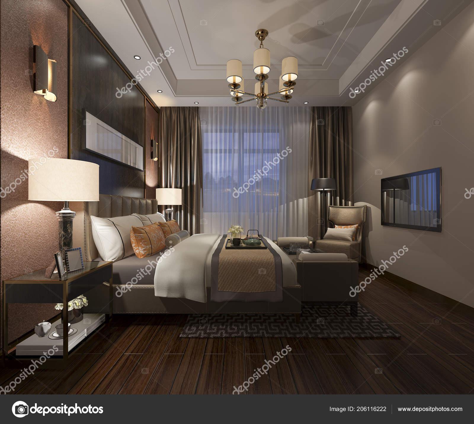 3D Rendering Schöne Luxus Schlafzimmer Suite Im Hotel Mit Tvu2013 Stockbild