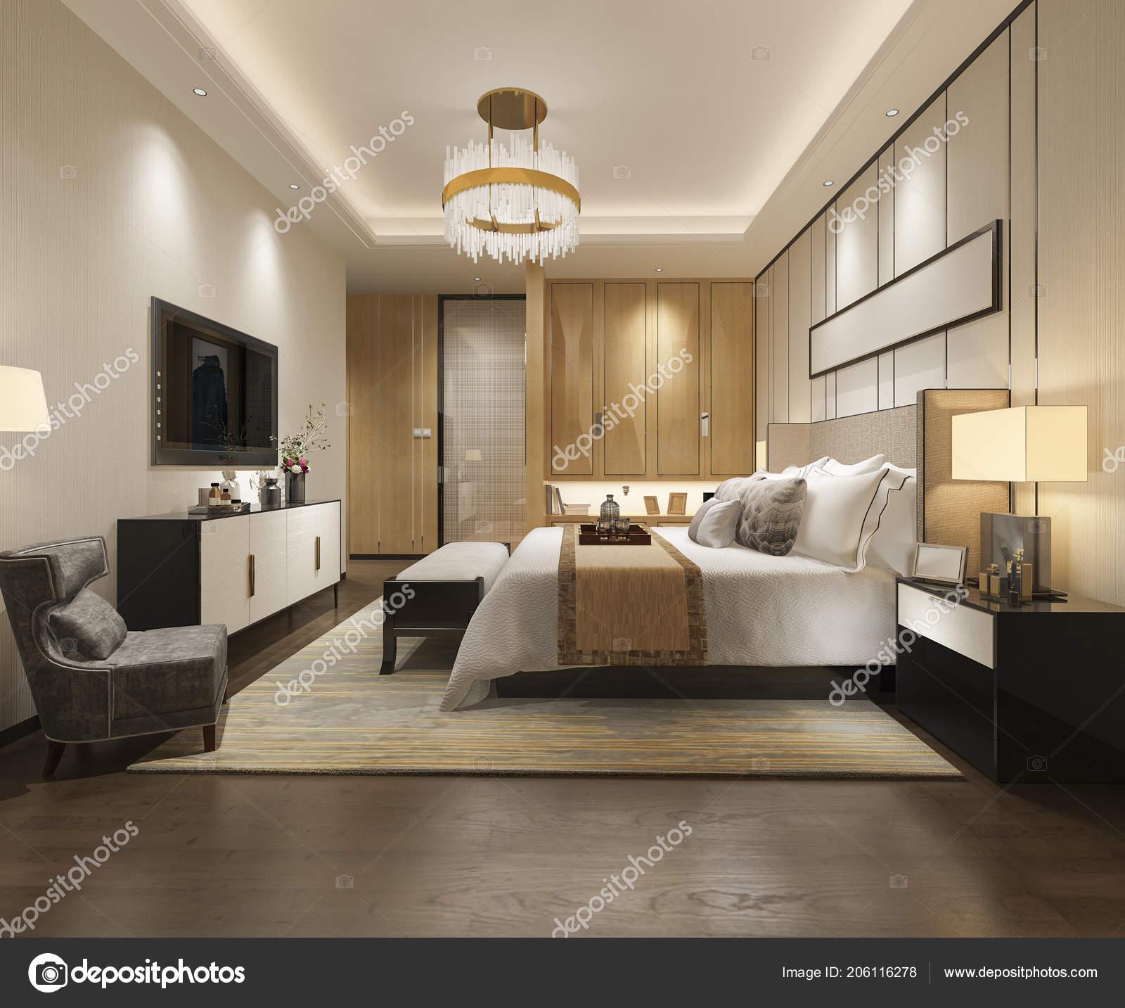 Suite Chambre Coucher Moderne Luxe Rendu Hôtel Avec Placard Dressing ...