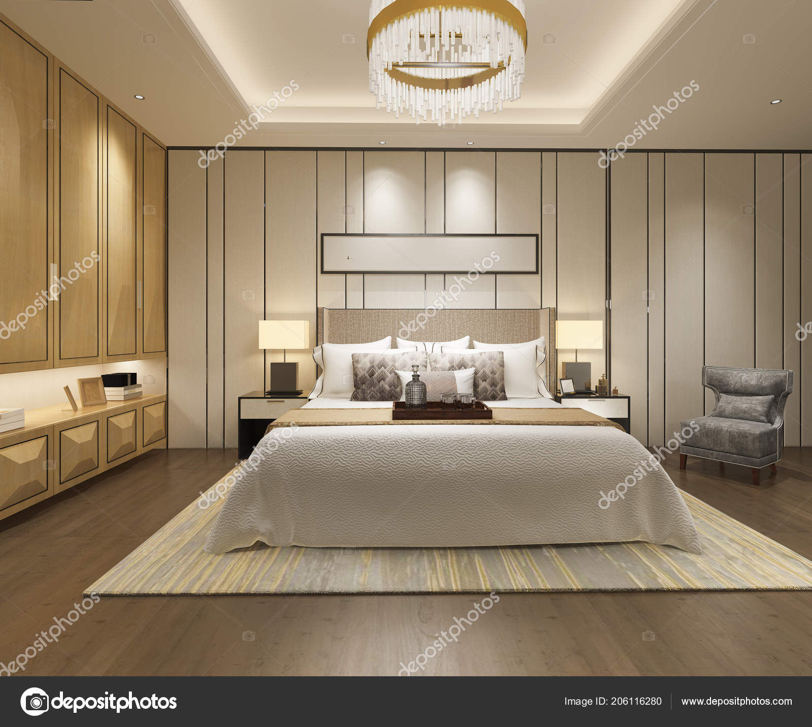 3d Rendering Luxury Modern Bedroom Suite In Hotel With Wardrobe And Walk Closet Photo By Dit26978