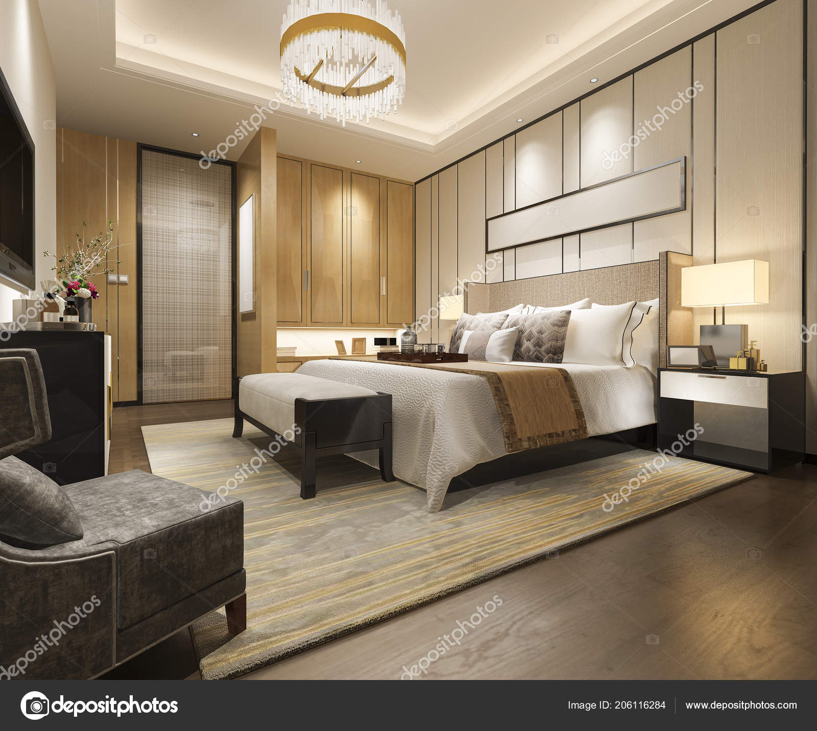 . Rendering Luxury Modern Bedroom Suite Hotel Wardrobe Walk Closet