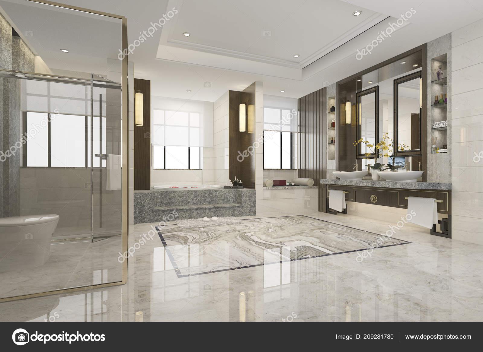 Luxe Rendu Moderne Design Salle Bain — Photographie dit26978 ...