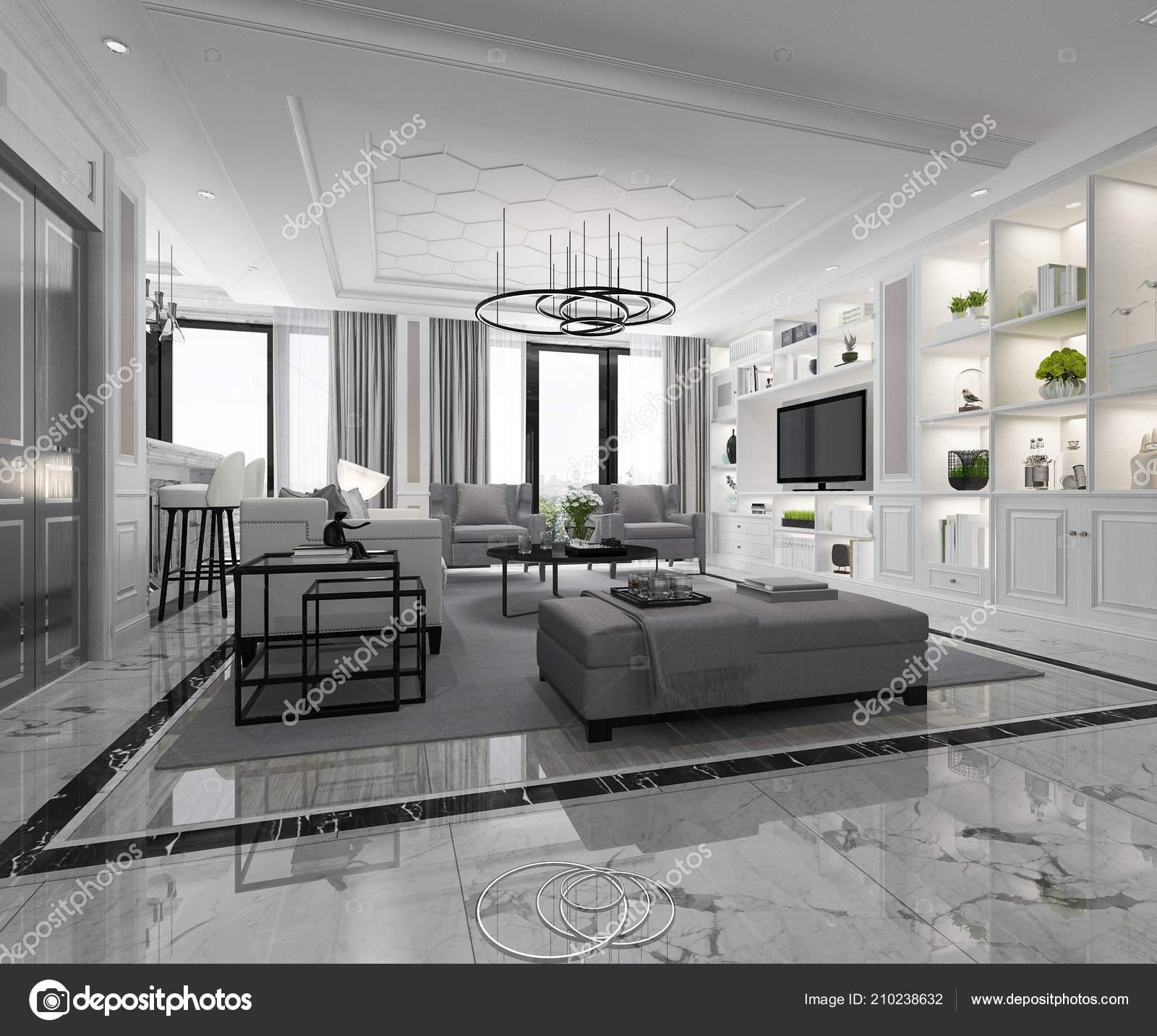 Charmant 3D Rendu Blanc Moderne Classique Salon Avec Carrelage En Marbre Et étagère  U2014 Image De ...