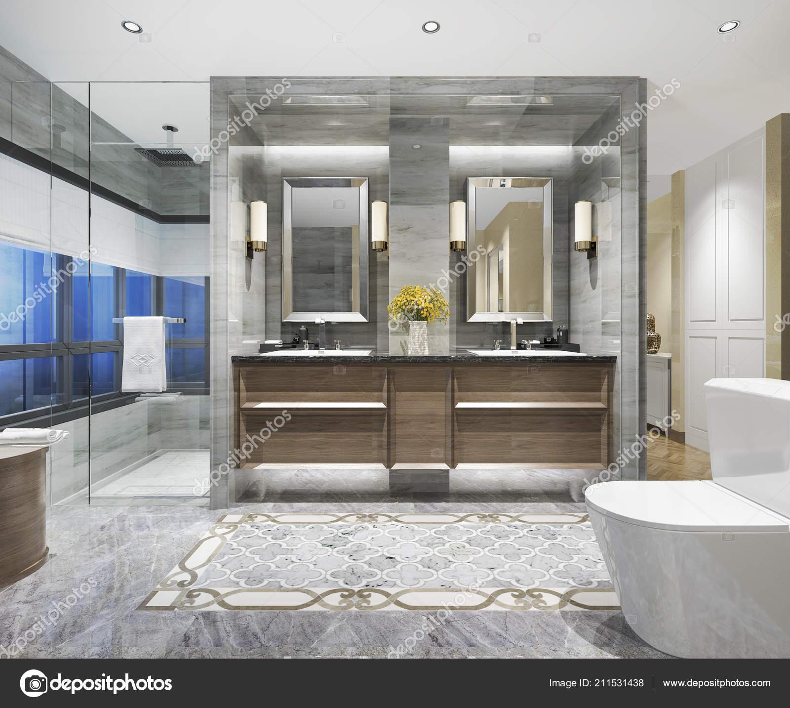 Representación Clásico Cuarto Baño Moderno Con Lujo Azulejo ...