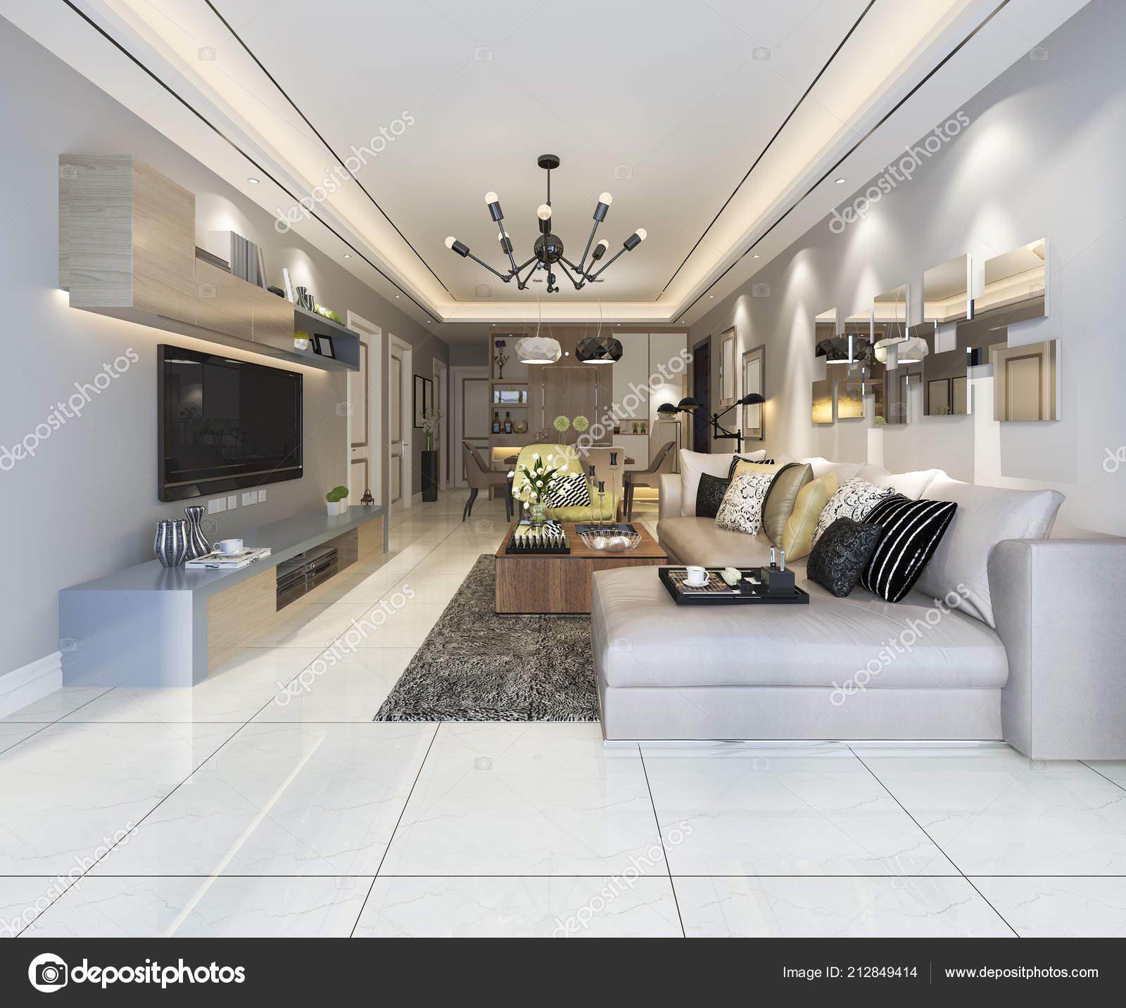Rendu moderne salle manger salon avec d cor luxe photographie dit26978 212849414 for Salon moderne luxe