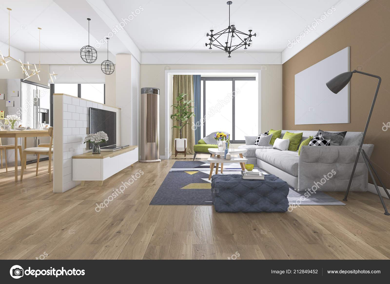 Rendering moderne eetkamer woonkamer met luxe inrichting