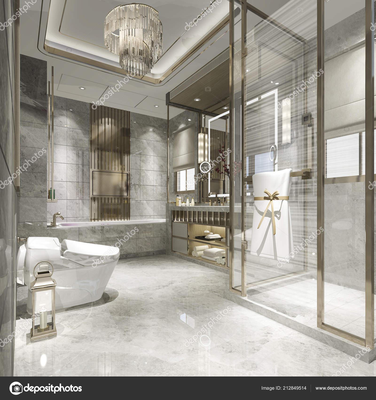 Merveilleux 3D Salle De Bains à Moderne De Rendu Avec Luxe Carrelage Décorationu2013 Images  De Stock Libres De Droits
