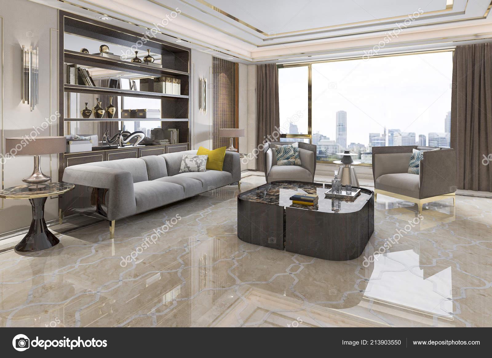 Wunderbar 3D Rendering Loft Luxus Wohnzimmer Mit Bücherregalu2013 Stockbild