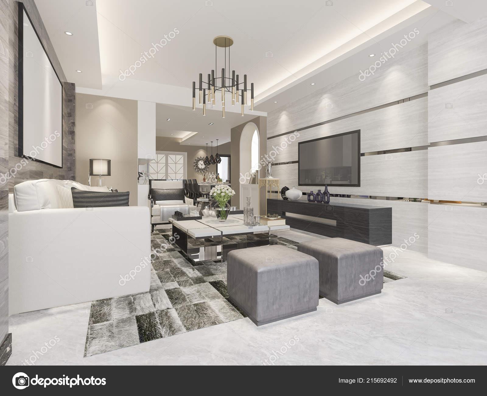 3D Rendu Blanc Moderne Classique Salon Avec Carrelage En Marbre U2014 Image De  ...