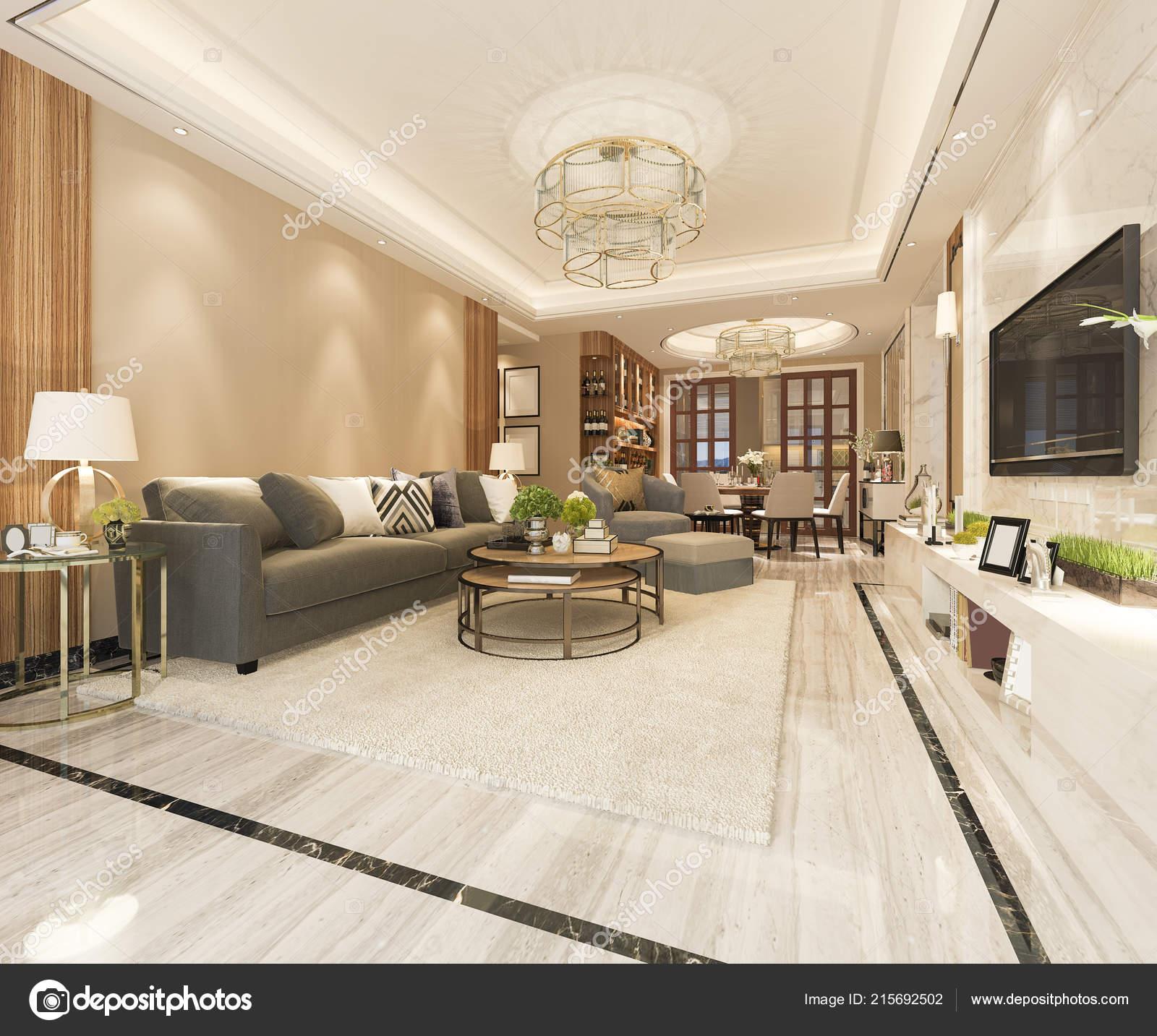 Rendering bianco moderno salotto classico con mattonelle for Salotto bianco