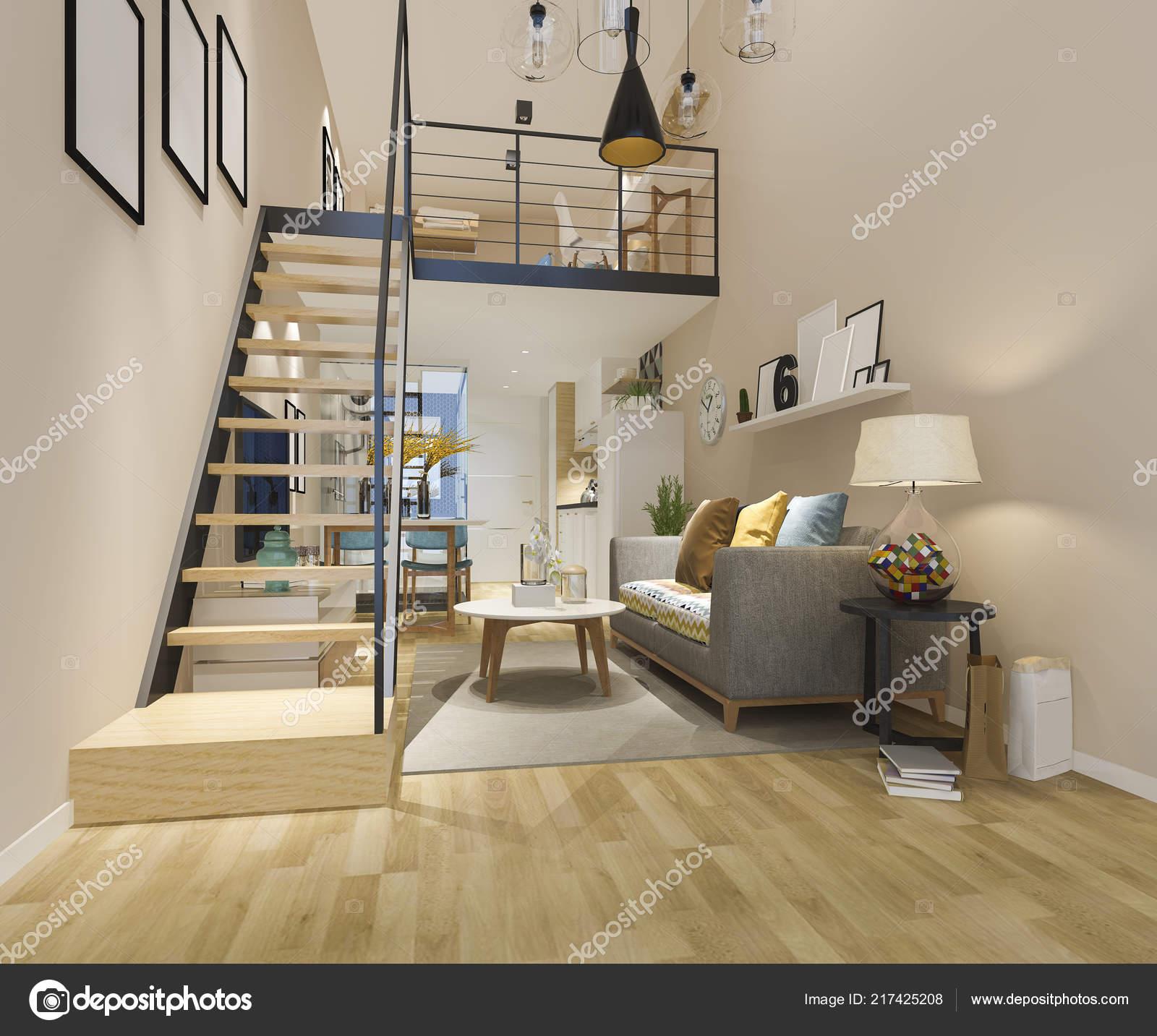 Render blanco madera living comedor cerca estilo for Living comedor minimalista