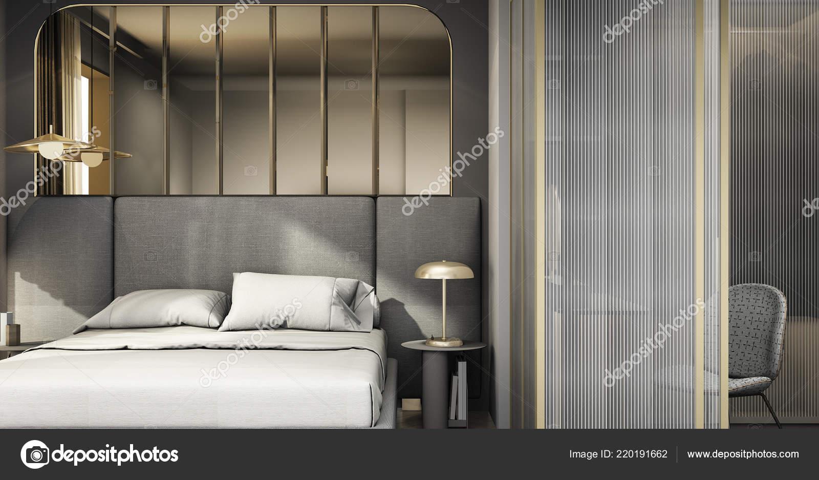 . Rendering Luxury Modern Bedroom Suite Wardrobe Walk Closet   Stock