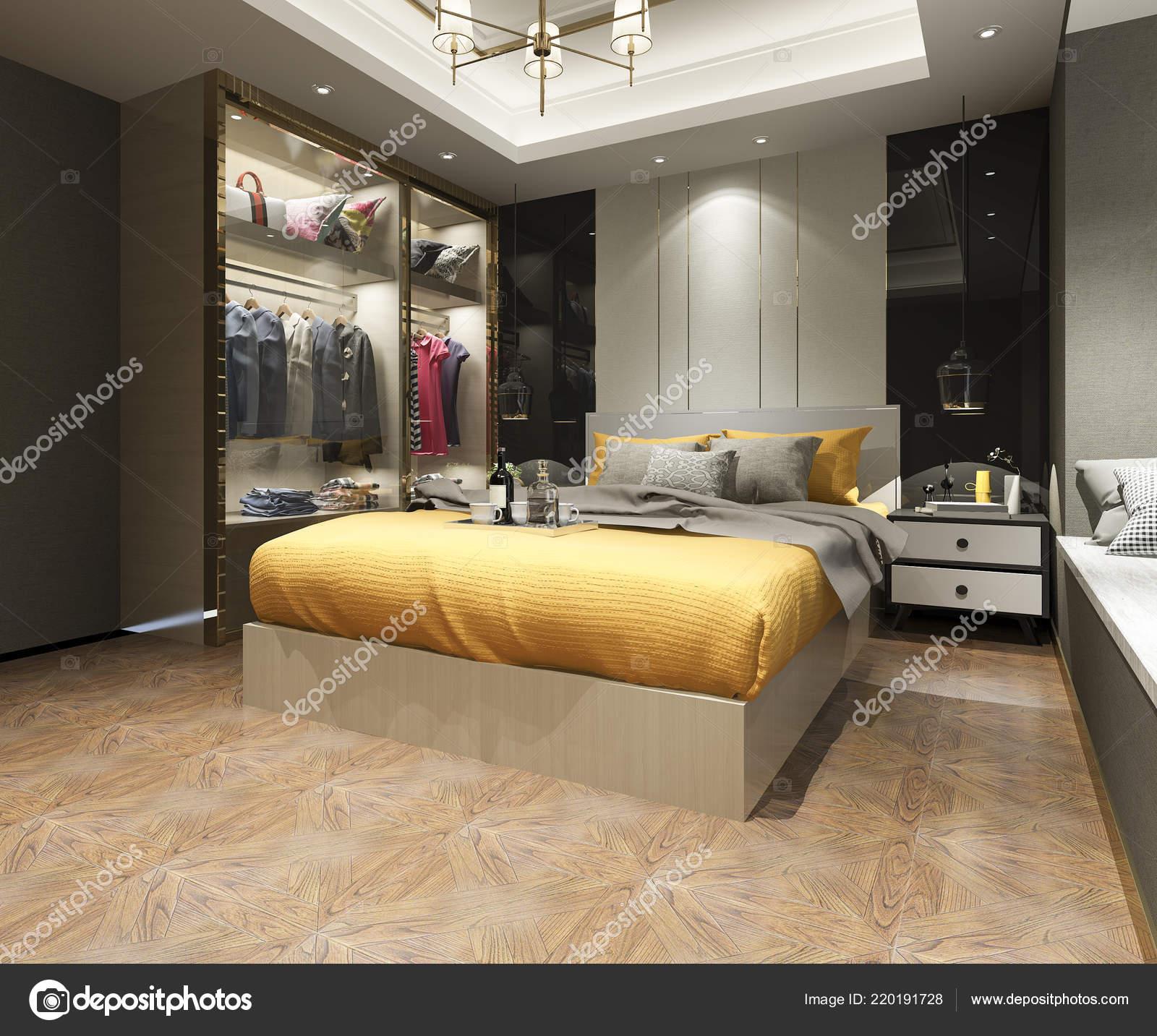 Suite Chambre Coucher Moderne Luxe Rendu Avec Placard ...