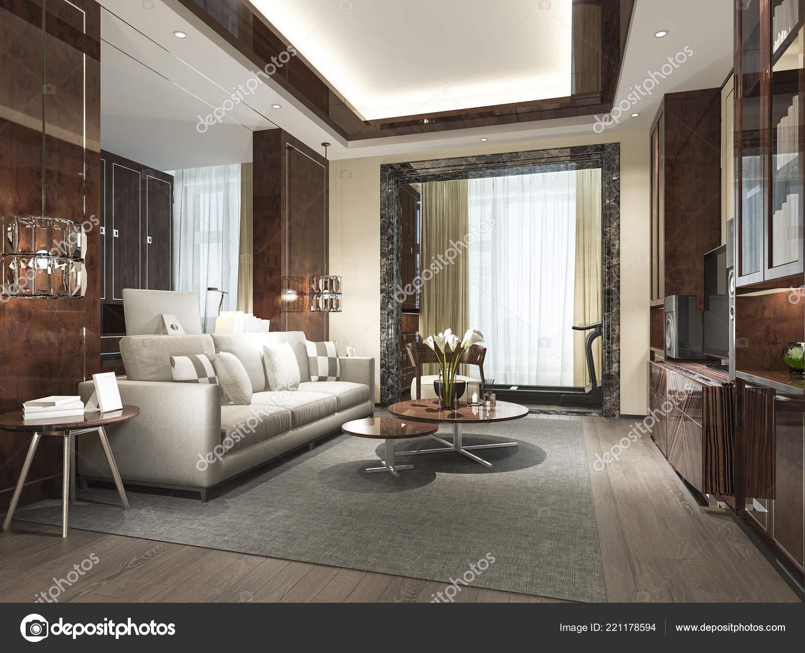 3D Rendu Bois Classique Salon Avec Carrelage En Marbre Et étagère U2014 Image  De ...