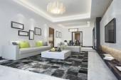 3D vykreslování moderní jídelna a obývací pokoj s luxusní dekor