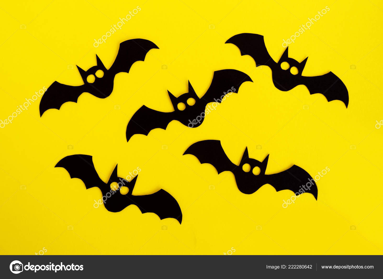 Holiday Decorations Halloween Five Black Paper Bats Yellow