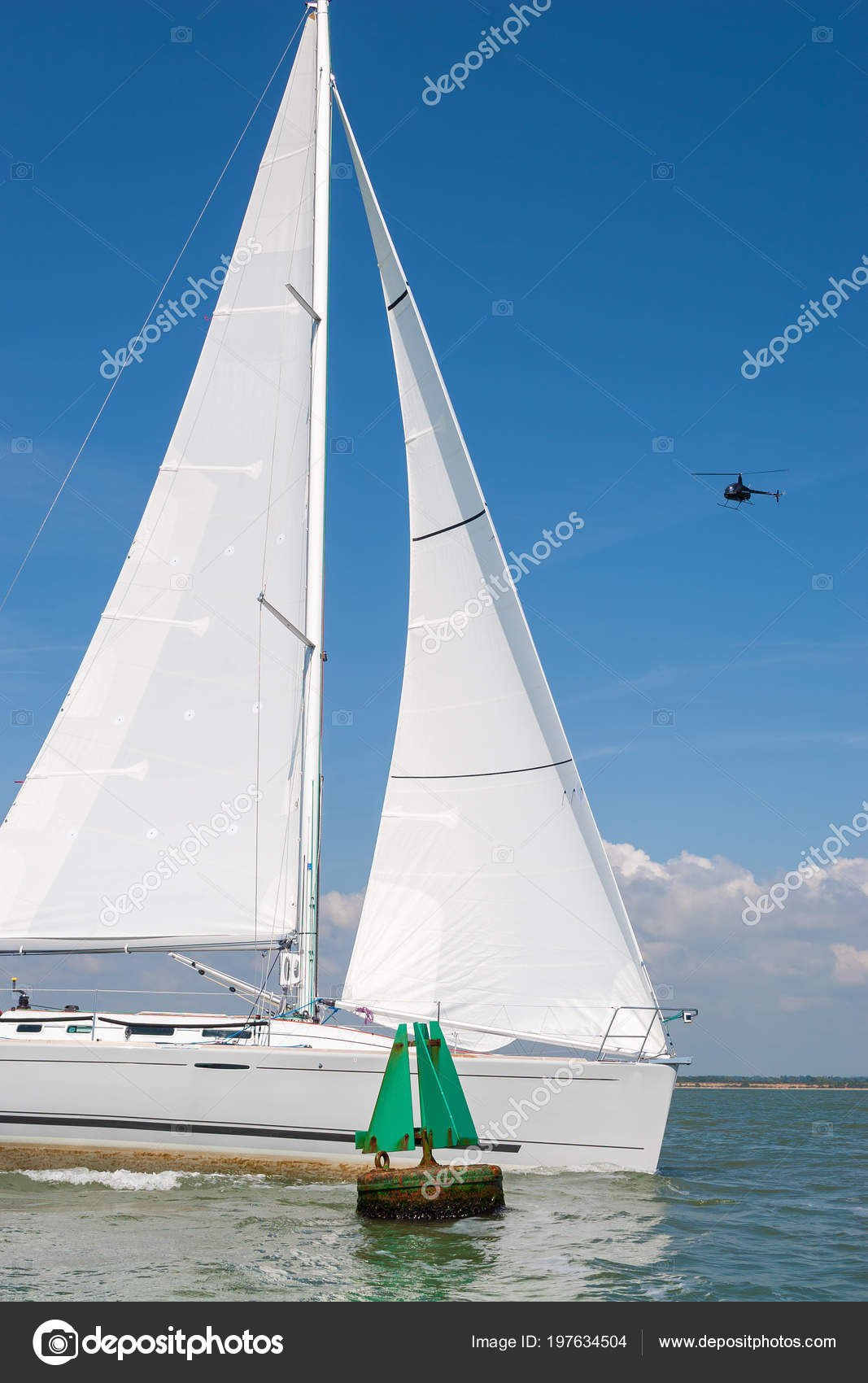 Sailing Boat Sail Boat Yacht White Sails Passing Green Navigation