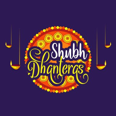 Creative illustration, poster or banner with decorated pot filled with gold coins of Happy dhanteras, diwali festival celebration background