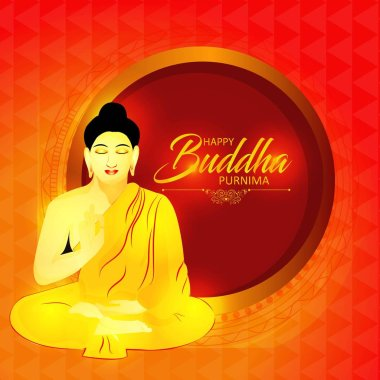 Illustration Of Buddha Purnima Background.